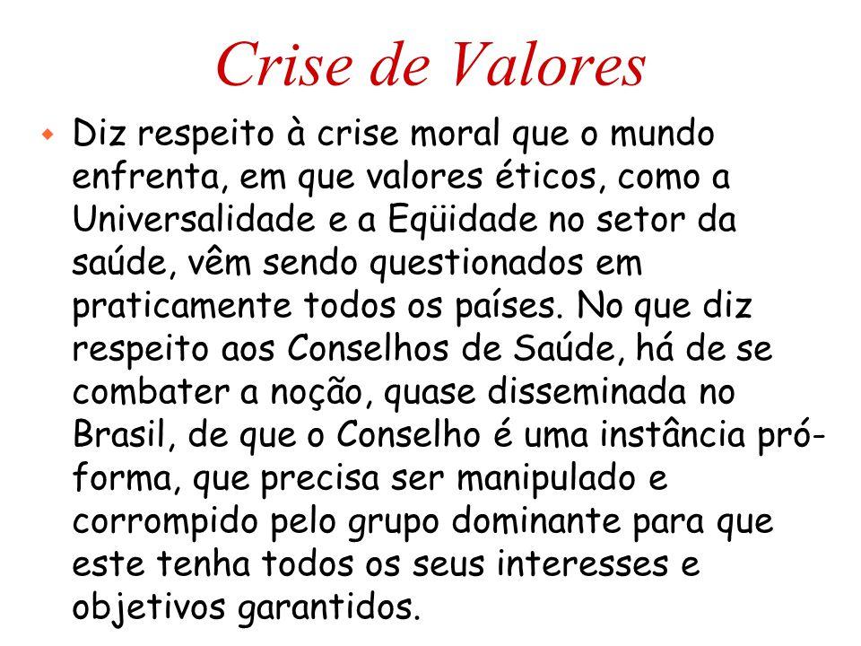Crise de Valores w Diz respeito à crise moral que o mundo enfrenta, em que valores éticos, como a Universalidade e a Eqüidade no setor da saúde, vêm sendo questionados em praticamente todos os países.