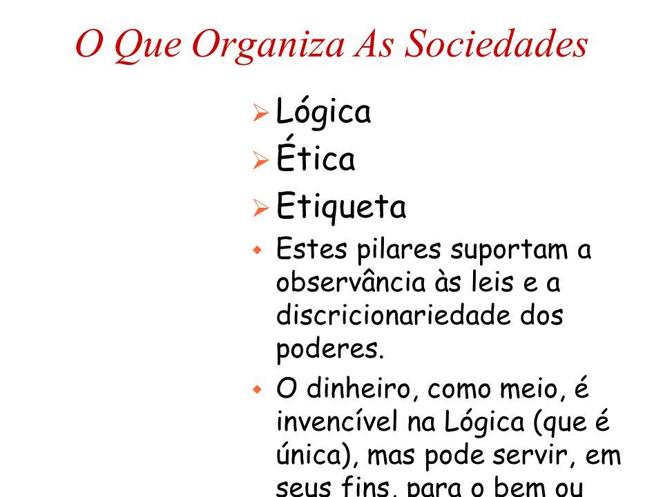 O Que Organiza As Sociedades  Lógica  Ética  Etiqueta w Estes pilares suportam a observância às leis e a discricionariedade dos poderes. w O dinhei