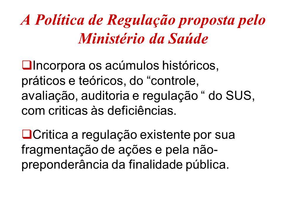"""A Política de Regulação proposta pelo Ministério da Saúde  Incorpora os acúmulos históricos, práticos e teóricos, do """"controle, avaliação, auditoria"""