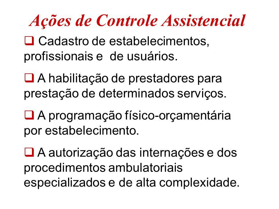 Ações de Controle Assistencial  Cadastro de estabelecimentos, profissionais e de usuários.  A habilitação de prestadores para prestação de determina
