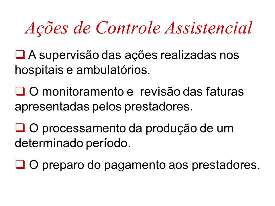 Ações de Controle Assistencial  A supervisão das ações realizadas nos hospitais e ambulatórios.  O monitoramento e revisão das faturas apresentadas