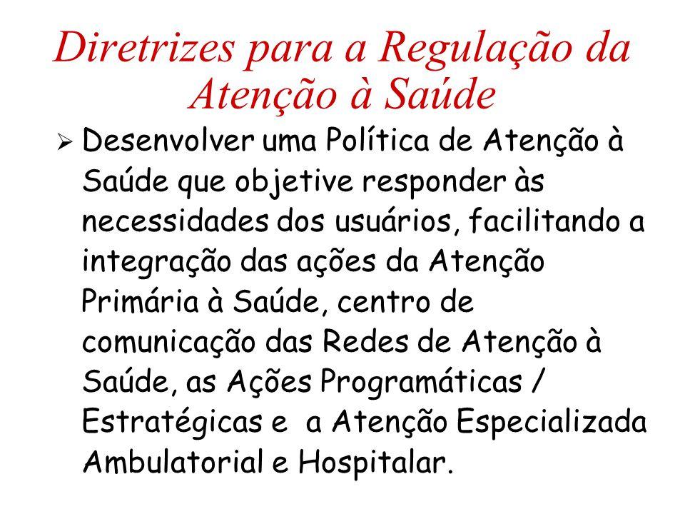 Diretrizes para a Regulação da Atenção à Saúde  Desenvolver uma Política de Atenção à Saúde que objetive responder às necessidades dos usuários, faci