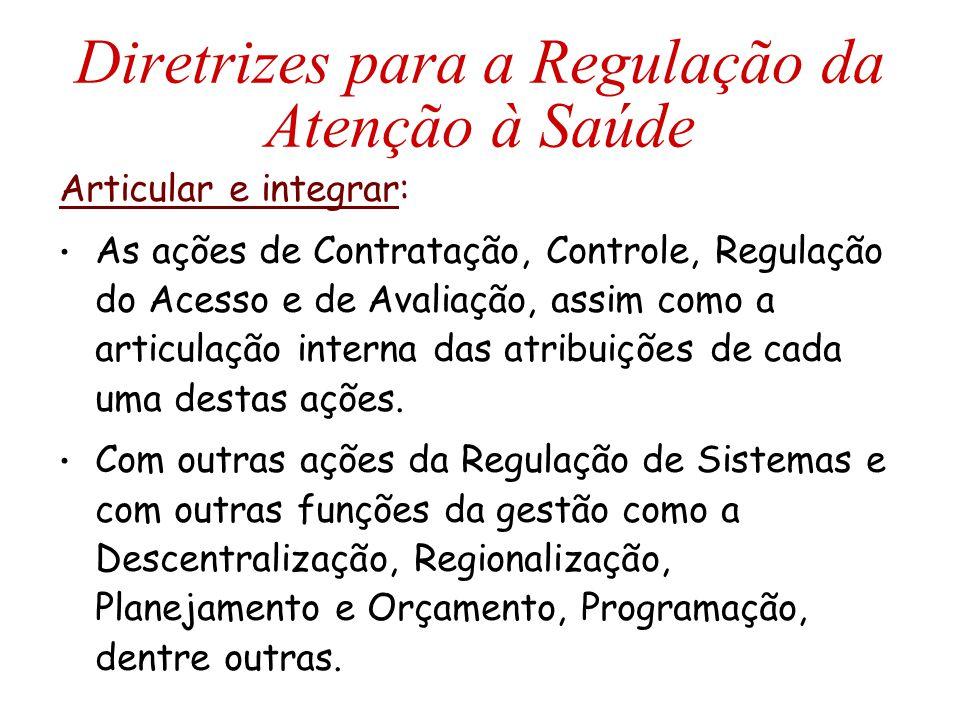 Diretrizes para a Regulação da Atenção à Saúde Articular e integrar: As ações de Contratação, Controle, Regulação do Acesso e de Avaliação, assim como a articulação interna das atribuições de cada uma destas ações.