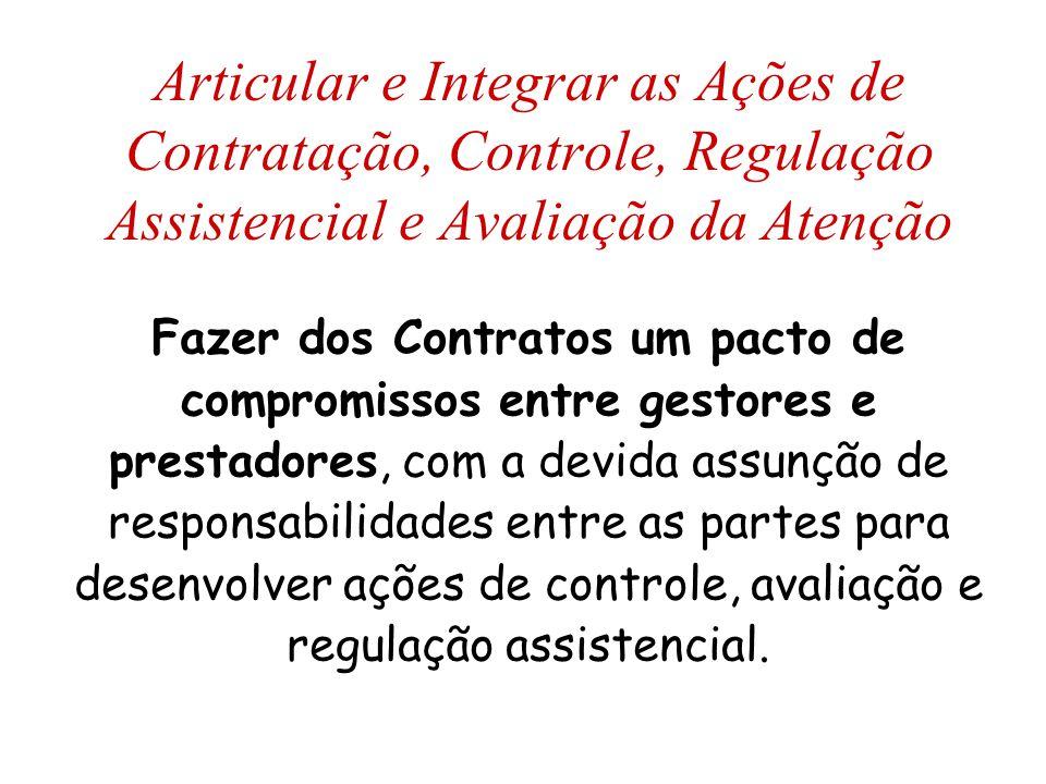 Articular e Integrar as Ações de Contratação, Controle, Regulação Assistencial e Avaliação da Atenção Fazer dos Contratos um pacto de compromissos ent