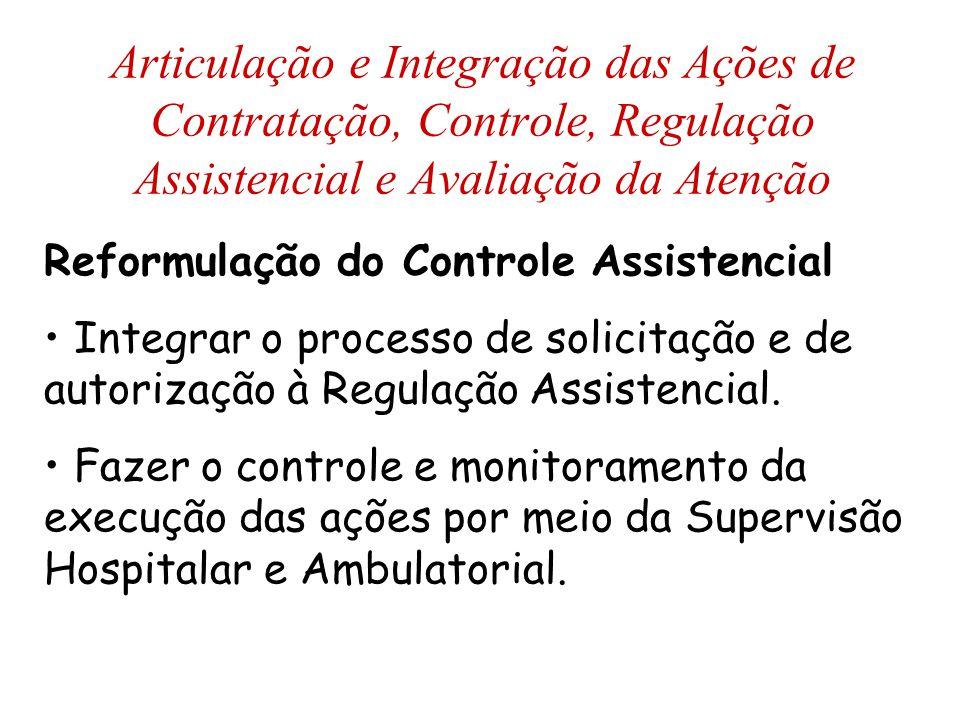 Reformulação do Controle Assistencial Integrar o processo de solicitação e de autorização à Regulação Assistencial. Fazer o controle e monitoramento d
