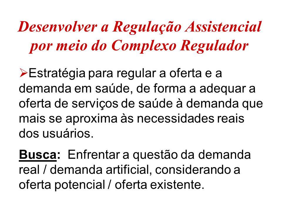 Desenvolver a Regulação Assistencial por meio do Complexo Regulador  Estratégia para regular a oferta e a demanda em saúde, de forma a adequar a oferta de serviços de saúde à demanda que mais se aproxima às necessidades reais dos usuários.
