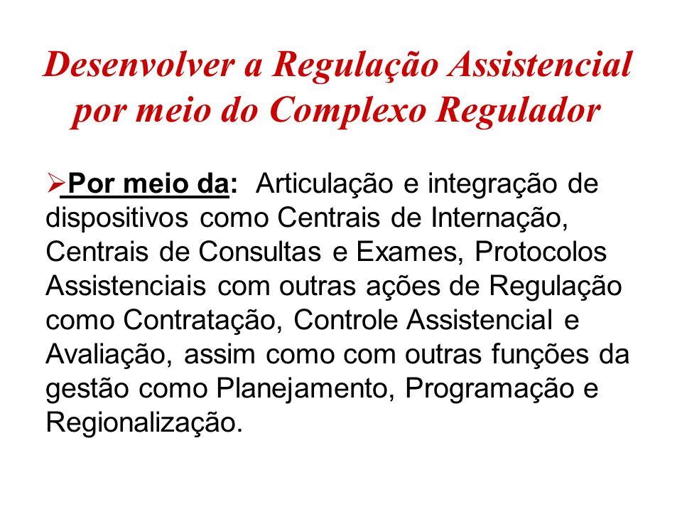 Desenvolver a Regulação Assistencial por meio do Complexo Regulador  Por meio da: Articulação e integração de dispositivos como Centrais de Internaçã