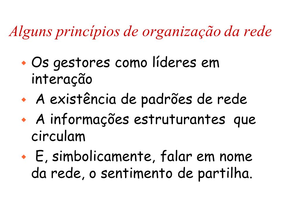 Alguns princípios de organização da rede w Os gestores como líderes em interação w A existência de padrões de rede w A informações estruturantes que circulam w E, simbolicamente, falar em nome da rede, o sentimento de partilha.