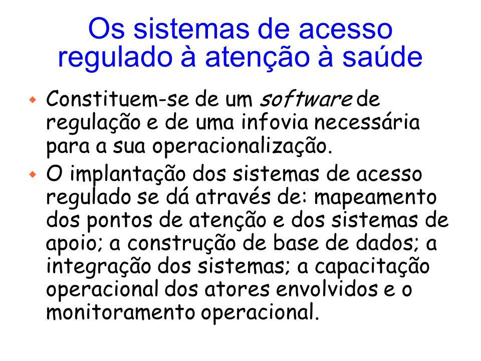 Os sistemas de acesso regulado à atenção à saúde w Constituem-se de um software de regulação e de uma infovia necessária para a sua operacionalização.