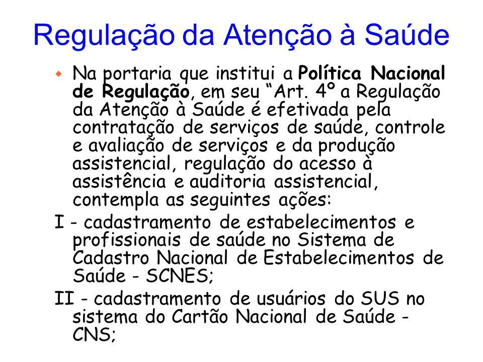 """Regulação da Atenção à Saúde w Na portaria que institui a Política Nacional de Regulação, em seu """"Art. 4º a Regulação da Atenção à Saúde é efetivada p"""