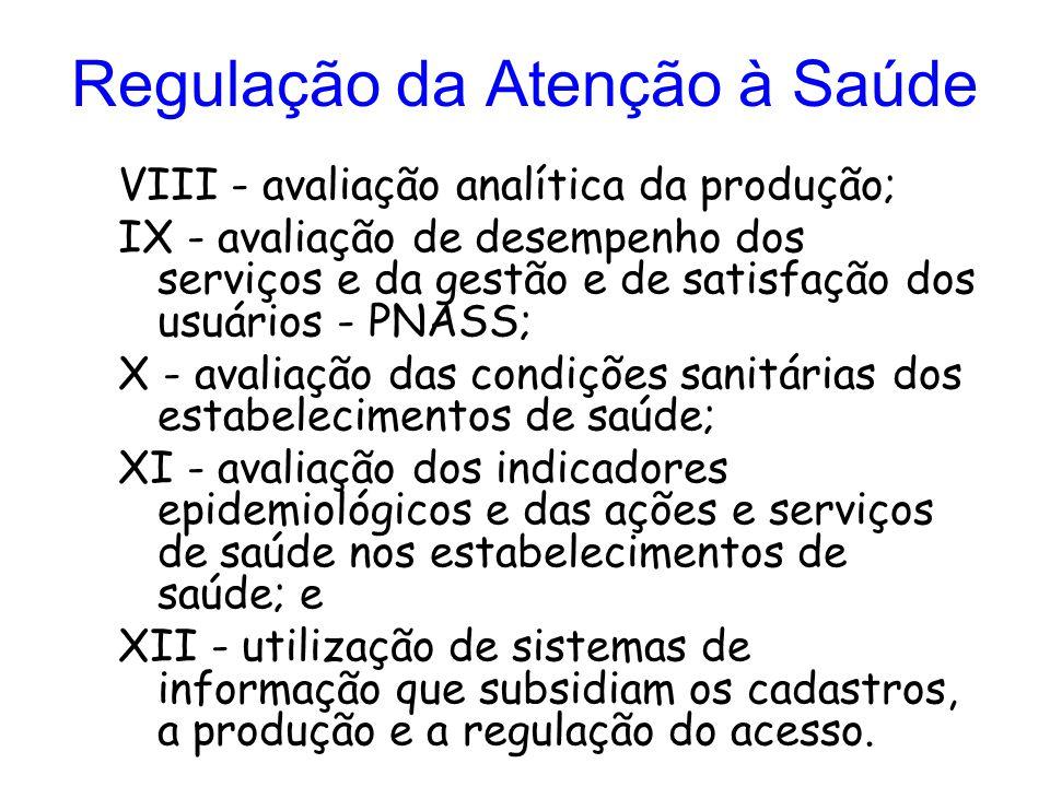 Regulação da Atenção à Saúde VIII - avaliação analítica da produção; IX - avaliação de desempenho dos serviços e da gestão e de satisfação dos usuário