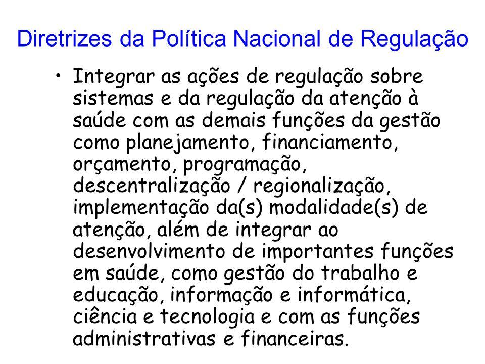 Diretrizes da Política Nacional de Regulação Integrar as ações de regulação sobre sistemas e da regulação da atenção à saúde com as demais funções da