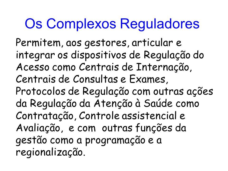 Permitem, aos gestores, articular e integrar os dispositivos de Regulação do Acesso como Centrais de Internação, Centrais de Consultas e Exames, Proto