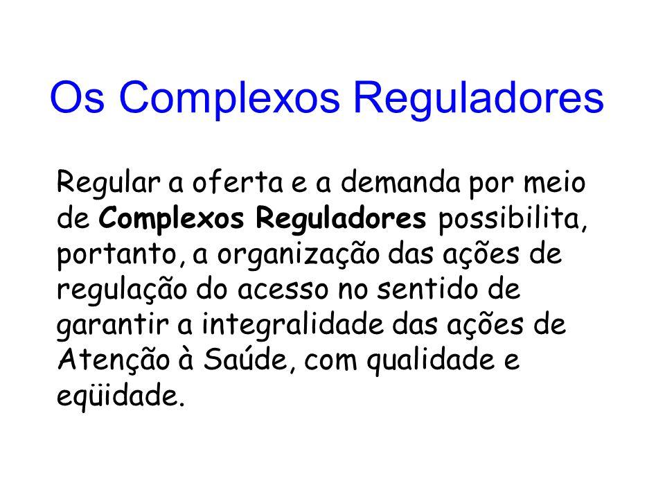 Regular a oferta e a demanda por meio de Complexos Reguladores possibilita, portanto, a organização das ações de regulação do acesso no sentido de garantir a integralidade das ações de Atenção à Saúde, com qualidade e eqüidade.