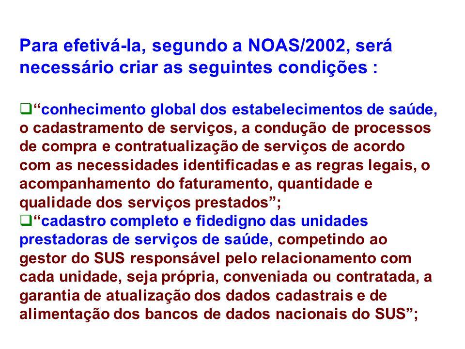 """Para efetivá-la, segundo a NOAS/2002, será necessário criar as seguintes condições :  """"conhecimento global dos estabelecimentos de saúde, o cadastram"""