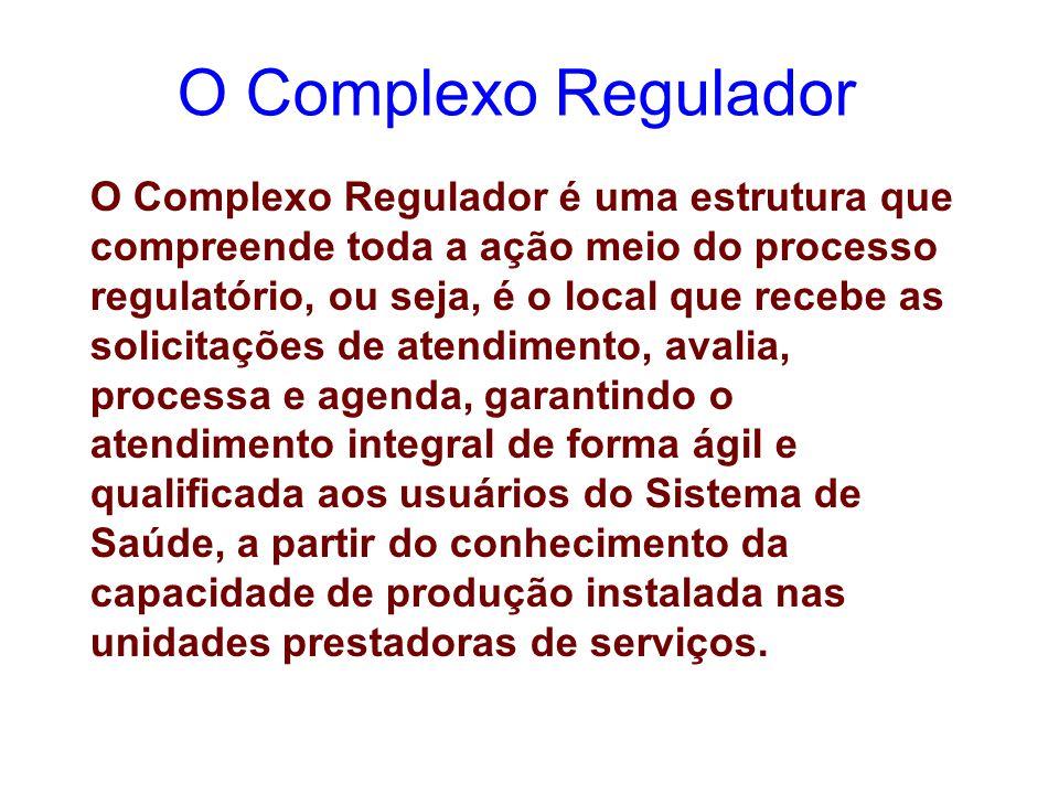 O Complexo Regulador é uma estrutura que compreende toda a ação meio do processo regulatório, ou seja, é o local que recebe as solicitações de atendim