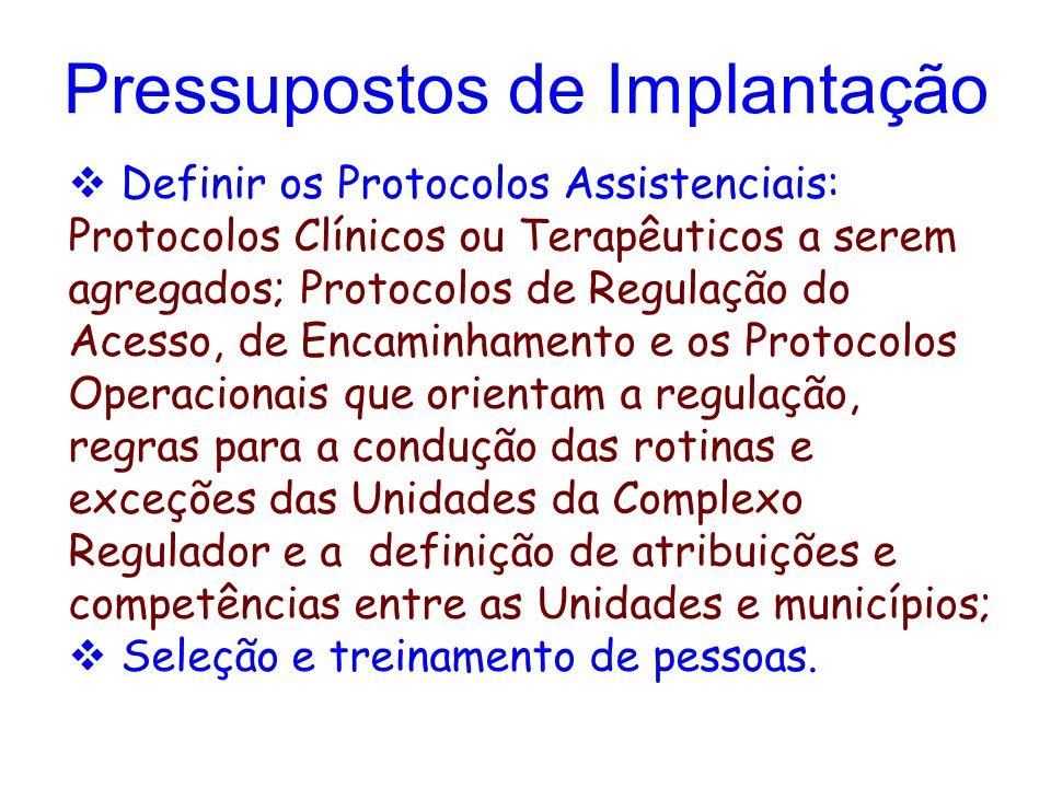  Definir os Protocolos Assistenciais: Protocolos Clínicos ou Terapêuticos a serem agregados; Protocolos de Regulação do Acesso, de Encaminhamento e os Protocolos Operacionais que orientam a regulação, regras para a condução das rotinas e exceções das Unidades da Complexo Regulador e a definição de atribuições e competências entre as Unidades e municípios;  Seleção e treinamento de pessoas.