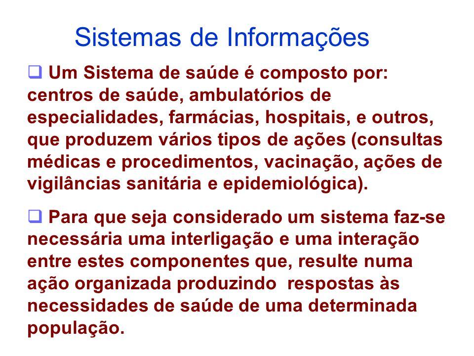  Um Sistema de saúde é composto por: centros de saúde, ambulatórios de especialidades, farmácias, hospitais, e outros, que produzem vários tipos de a