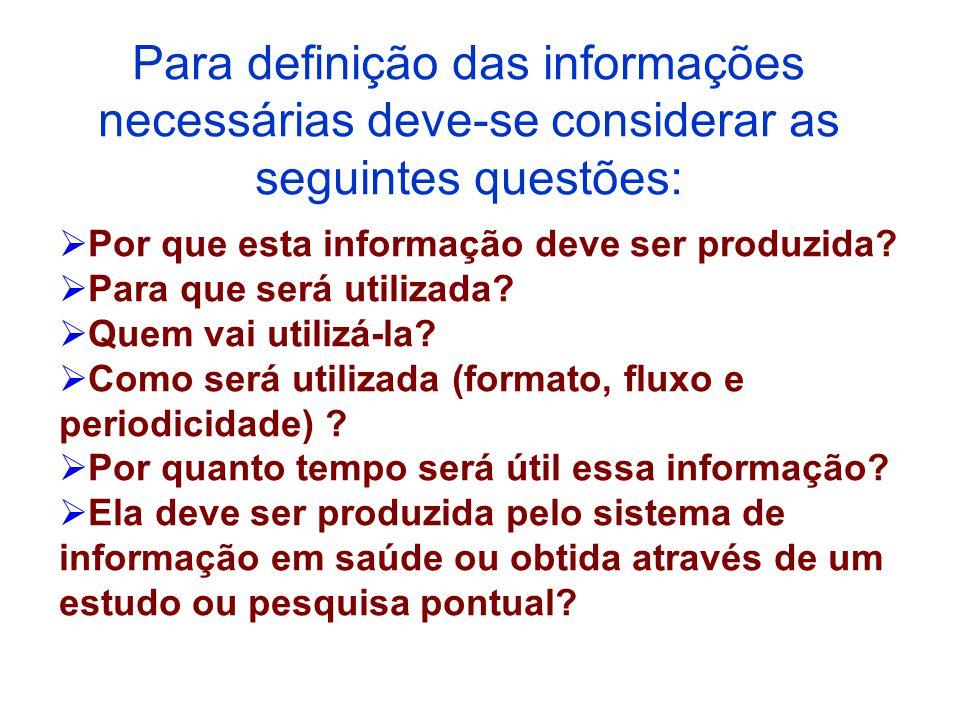  Por que esta informação deve ser produzida?  Para que será utilizada?  Quem vai utilizá-la?  Como será utilizada (formato, fluxo e periodicidade)