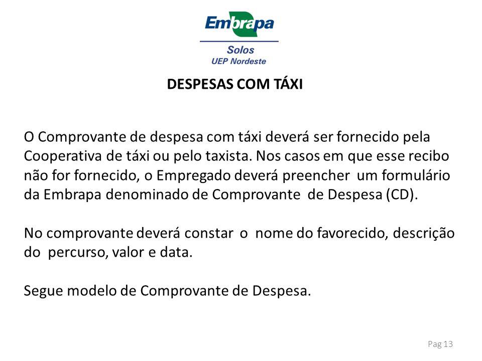 Pag 13 DESPESAS COM TÁXI O Comprovante de despesa com táxi deverá ser fornecido pela Cooperativa de táxi ou pelo taxista. Nos casos em que esse recibo