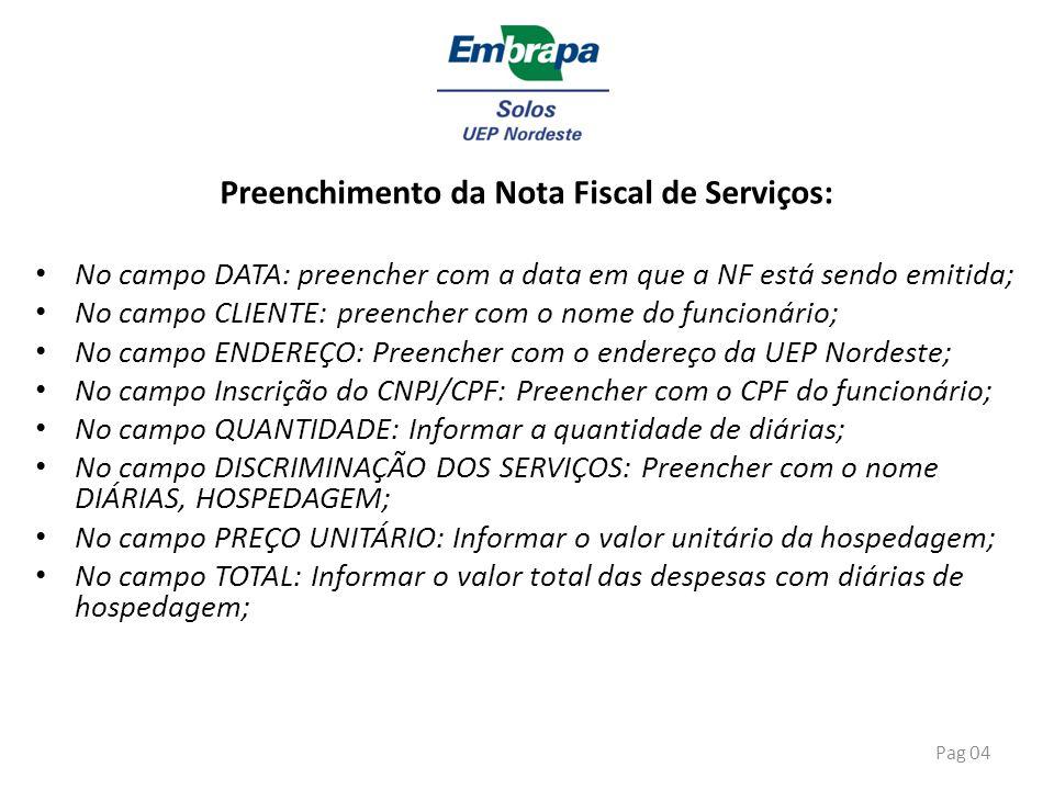 Preenchimento da Nota Fiscal de Serviços: No campo DATA: preencher com a data em que a NF está sendo emitida; No campo CLIENTE: preencher com o nome d