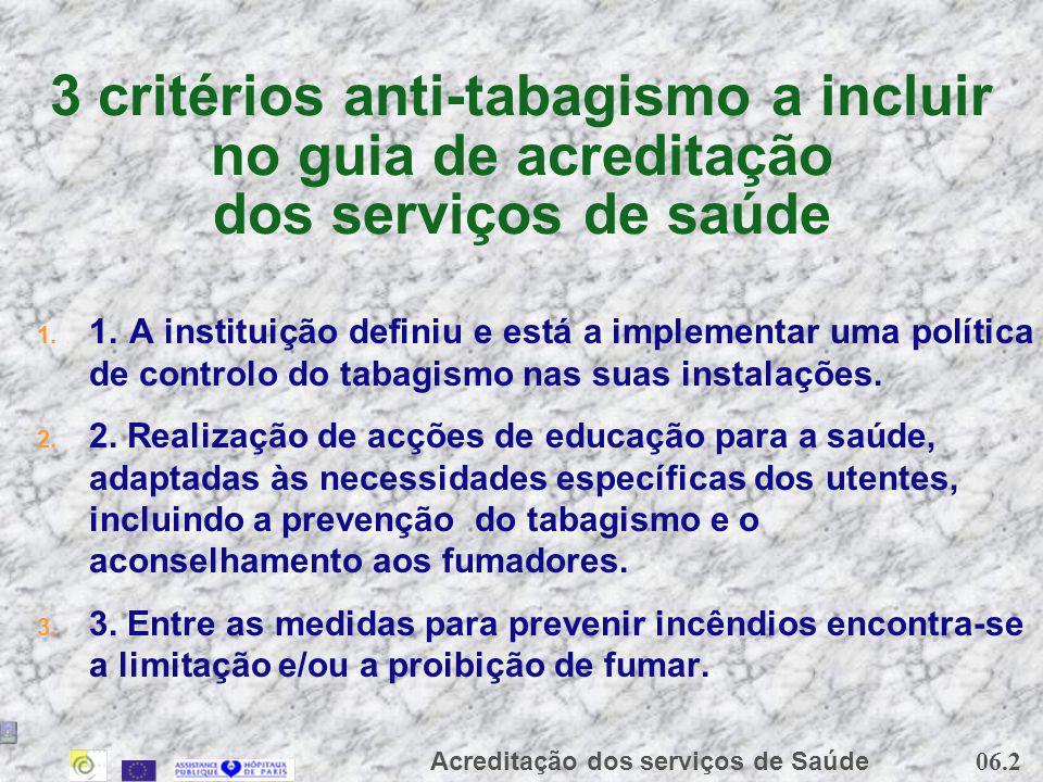 06.2 Acreditação dos serviços de Saúde 3 critérios anti-tabagismo a incluir no guia de acreditação dos serviços de saúde 1. 1. A instituição definiu e