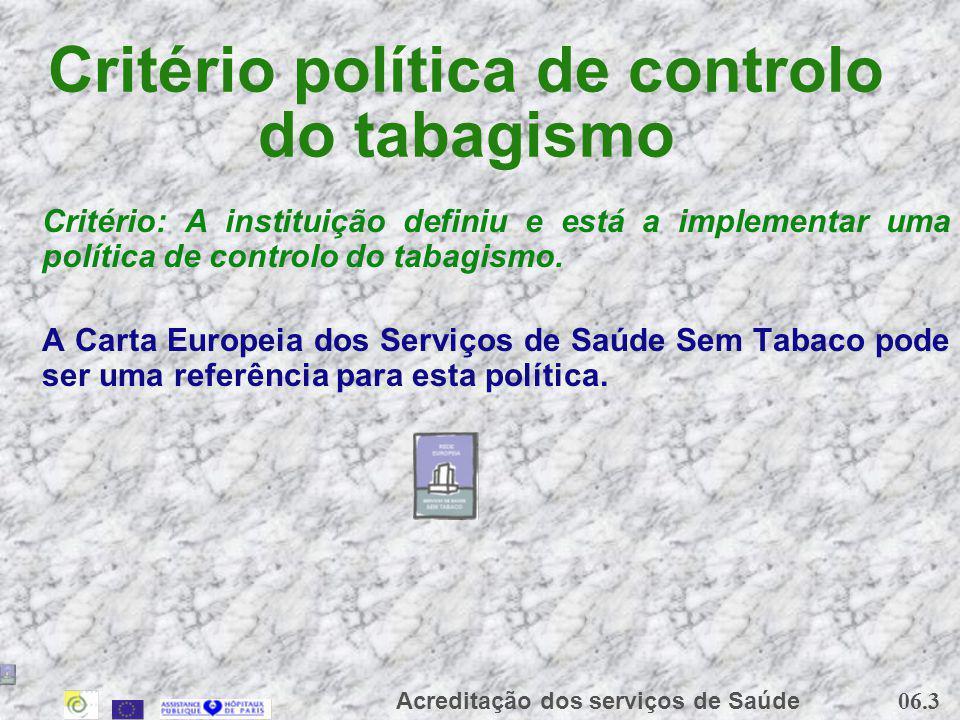06.3 Acreditação dos serviços de Saúde Critério política de controlo do tabagismo Critério: A instituição definiu e está a implementar uma política de