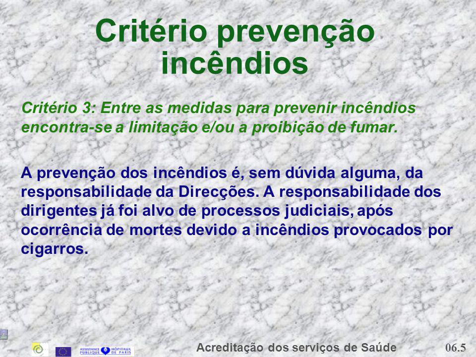06.5 Acreditação dos serviços de Saúde Critério prevenção incêndios Critério 3: Entre as medidas para prevenir incêndios encontra-se a limitação e/ou