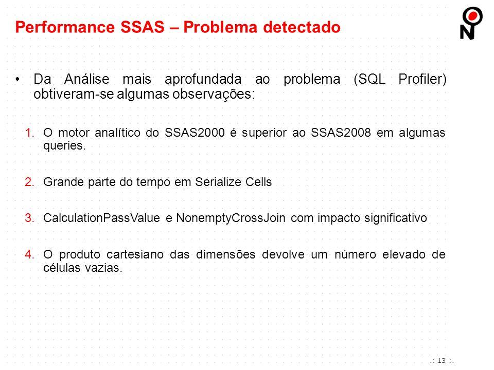 Da Análise mais aprofundada ao problema (SQL Profiler) obtiveram-se algumas observações: 1.O motor analítico do SSAS2000 é superior ao SSAS2008 em alg