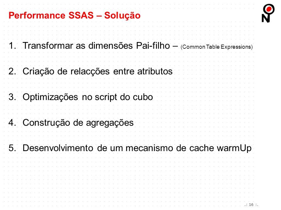 1.Transformar as dimensões Pai-filho – (Common Table Expressions) 2.Criação de relacções entre atributos 3.Optimizações no script do cubo 4.Construção