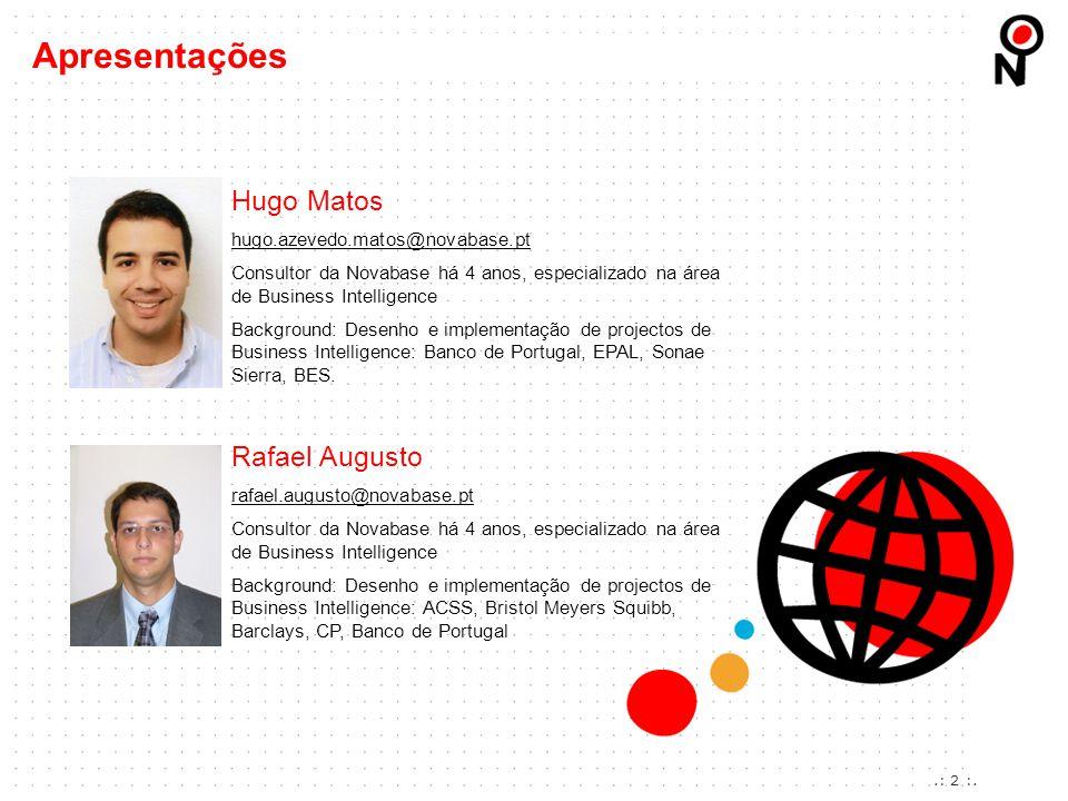 .: 2 :. Apresentações Hugo Matos hugo.azevedo.matos@novabase.pt Consultor da Novabase há 4 anos, especializado na área de Business Intelligence Backgr