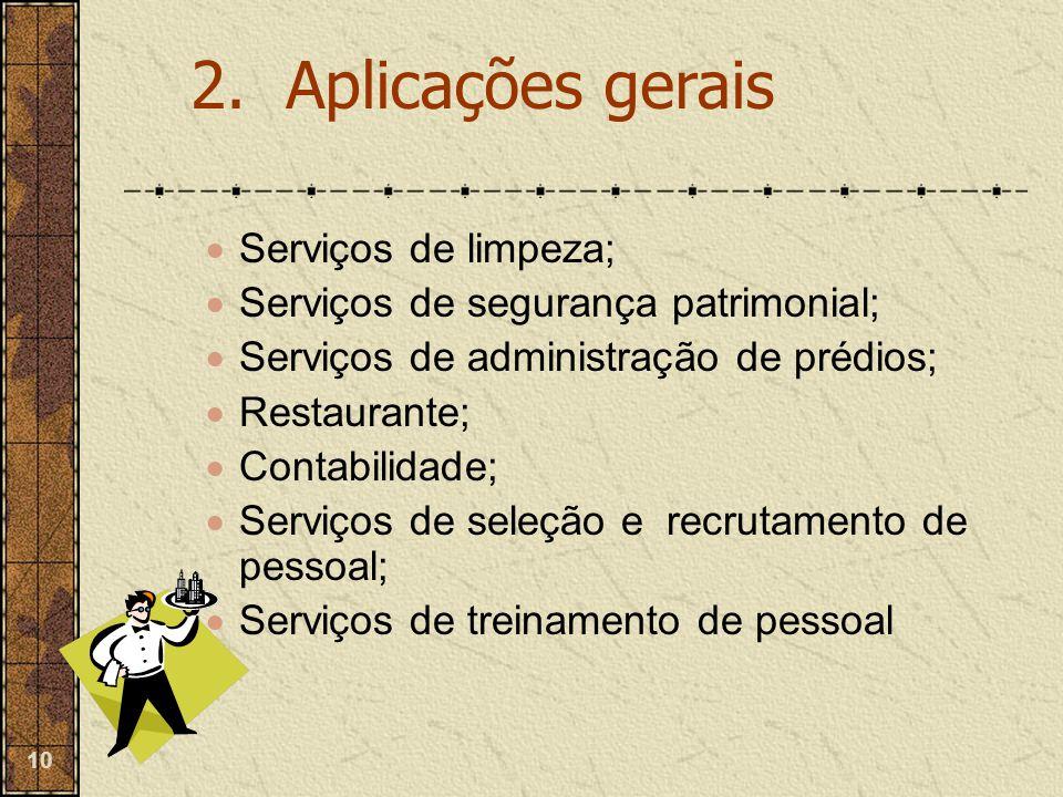 10  Serviços de limpeza;  Serviços de segurança patrimonial;  Serviços de administração de prédios;  Restaurante;  Contabilidade;  Serviços de s