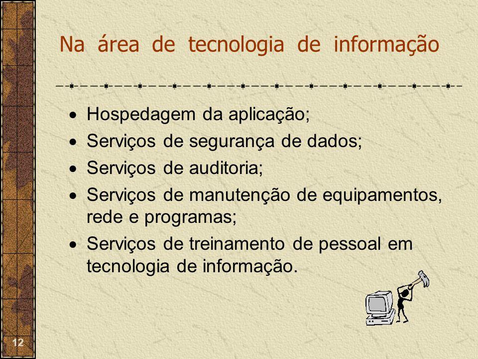 12  Hospedagem da aplicação;  Serviços de segurança de dados;  Serviços de auditoria;  Serviços de manutenção de equipamentos, rede e programas; 