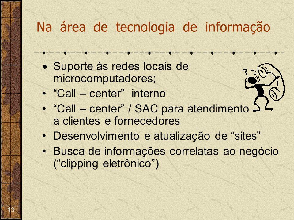 """13  Suporte às redes locais de microcomputadores; """"Call – center"""" interno """"Call – center"""" / SAC para atendimento a clientes e fornecedores Desenvolvi"""
