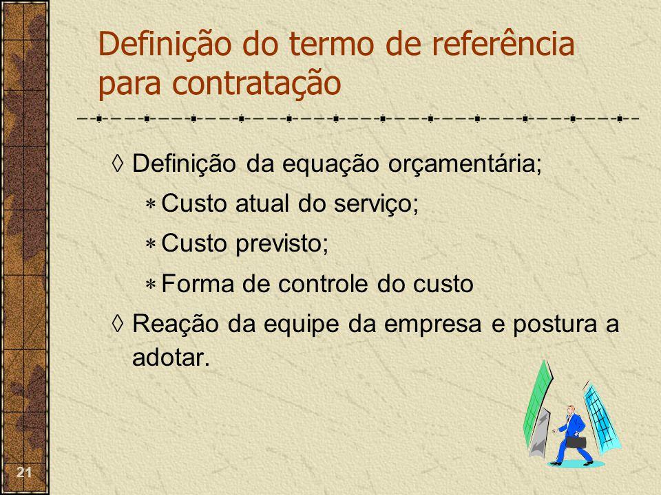 21  Definição da equação orçamentária;  Custo atual do serviço;  Custo previsto;  Forma de controle do custo  Reação da equipe da empresa e postu