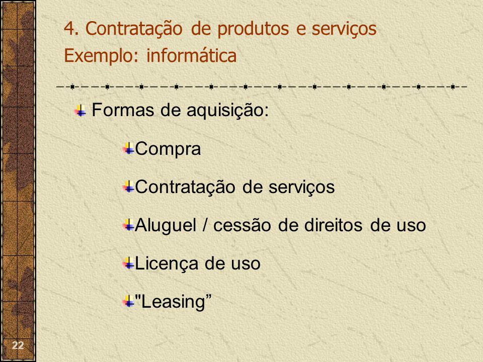 22 Formas de aquisição: Compra Contratação de serviços Aluguel / cessão de direitos de uso Licença de uso