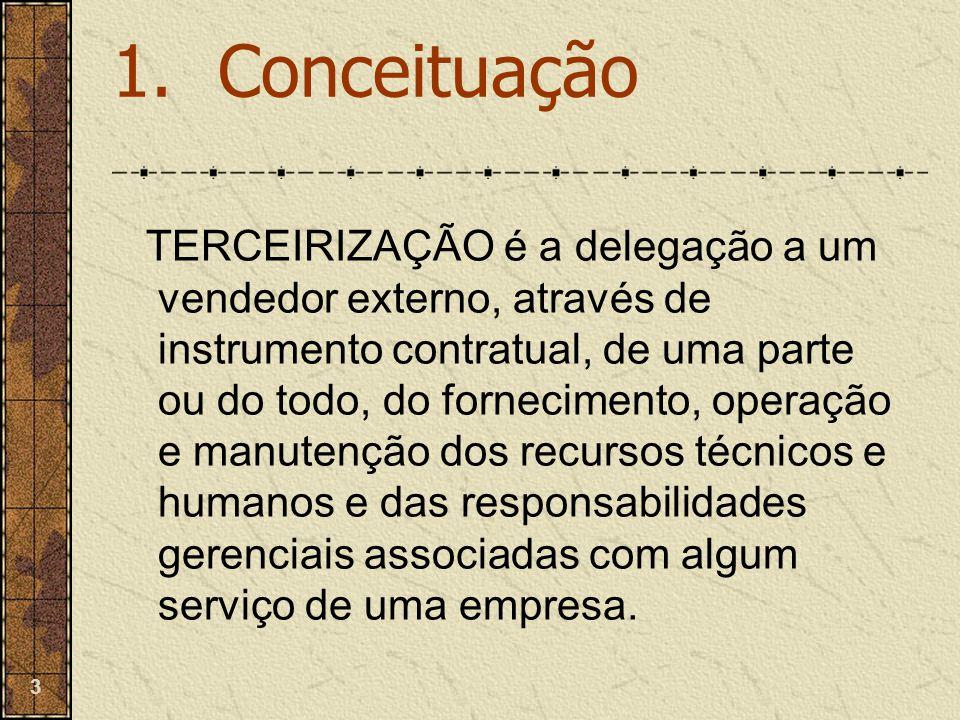 3 TERCEIRIZAÇÃO é a delegação a um vendedor externo, através de instrumento contratual, de uma parte ou do todo, do fornecimento, operação e manutençã