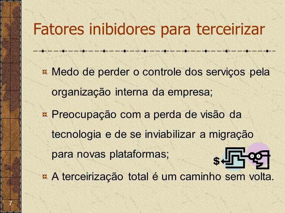 7 Medo de perder o controle dos serviços pela organização interna da empresa; Preocupação com a perda de visão da tecnologia e de se inviabilizar a mi
