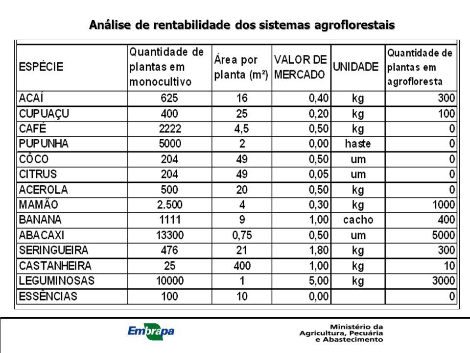 Análise de rentabilidade dos sistemas agroflorestais