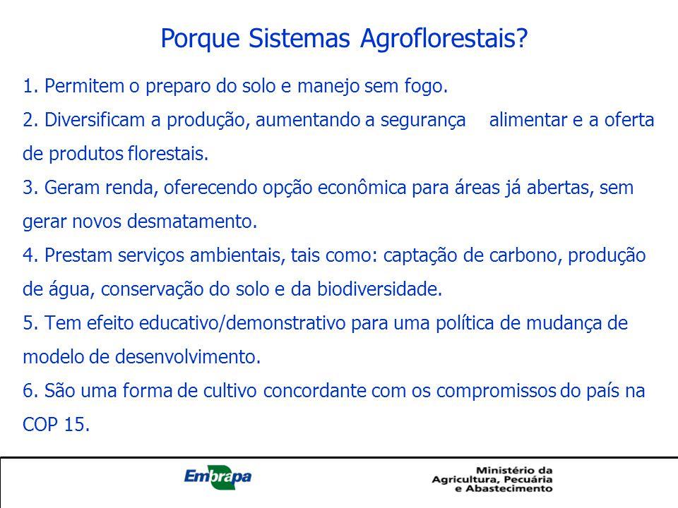 Porque Sistemas Agroflorestais? 1. Permitem o preparo do solo e manejo sem fogo. 2. Diversificam a produção, aumentando a segurança alimentar e a ofer
