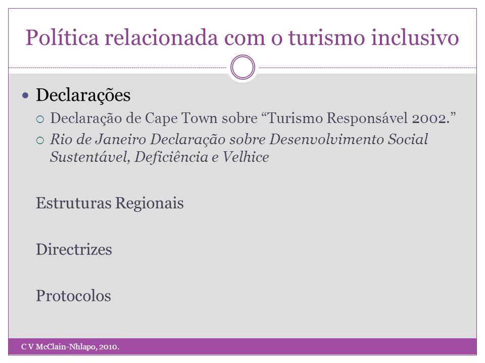 Política relacionada com o turismo inclusivo C V McClain-Nhlapo, 2010.