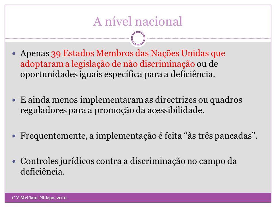 A nível nacional Apenas 39 Estados Membros das Nações Unidas que adoptaram a legislação de não discriminação ou de oportunidades iguais específica para a deficiência.
