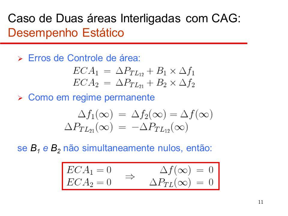 11 Caso de Duas áreas Interligadas com CAG: Desempenho Estático  Erros de Controle de área:  Como em regime permanente se B 1 e B 2 não simultaneame