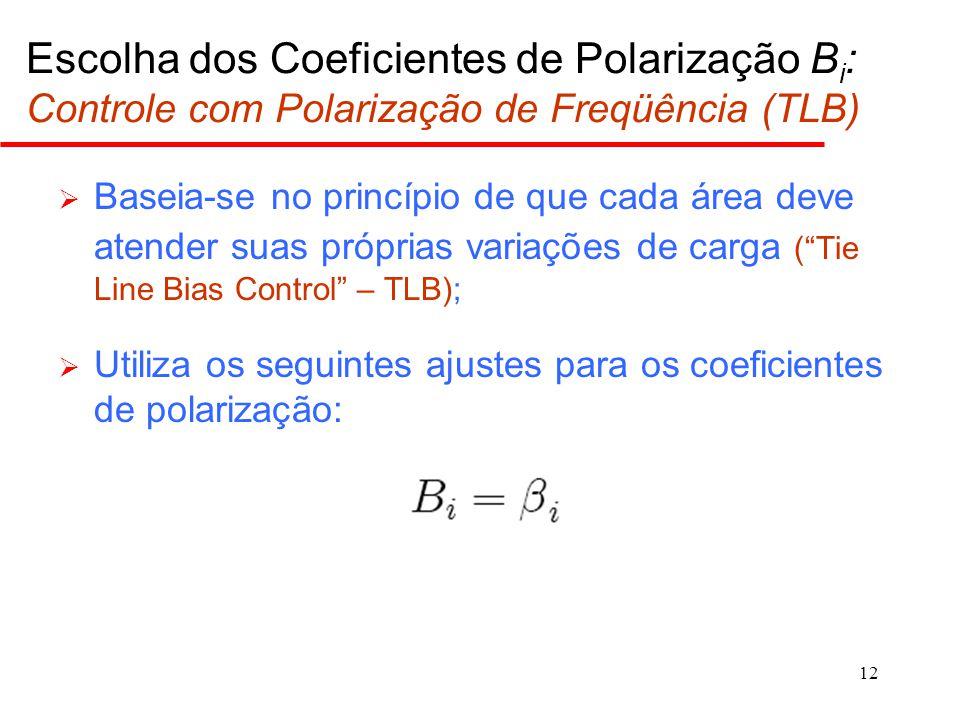 12 Escolha dos Coeficientes de Polarização B i : Controle com Polarização de Freqüência (TLB)  Baseia-se no princípio de que cada área deve atender s