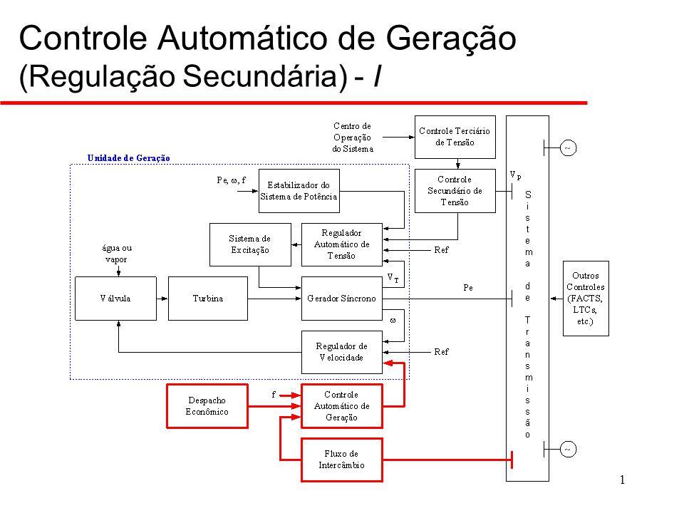 2 Controle Automático de Geração (Regulação Secundária) - II  Complementar à regulação primária;  Erro de freqüência nulo em regime;  Potência de intercâmbio de acordo com os valores programados (erro de intercâmbio nulo em regime);  Atua no deslocamento da referência dos reguladores de velocidade dos geradores que participam do Controle Automático de Geração (CAG);  Pode atuar sobre vários geradores do sistema;  Deve ser um controle centralizado;  Cálculo dos erros de controle de área as ações de controle são definidas no centro de operações do sistema.