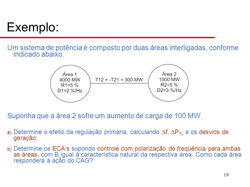 19 Exemplo: Um sistema de potência é composto por duas áreas interligadas, conforme indicado abaixo. Suponha que a área 2 sofre um aumento de carga de