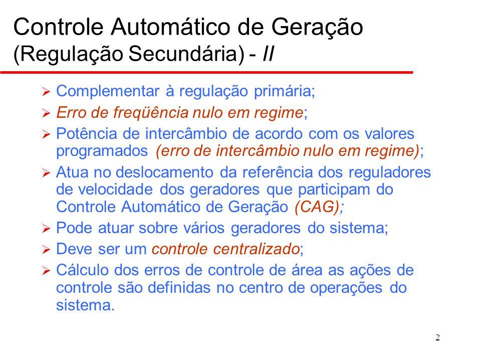 2 Controle Automático de Geração (Regulação Secundária) - II  Complementar à regulação primária;  Erro de freqüência nulo em regime;  Potência de i