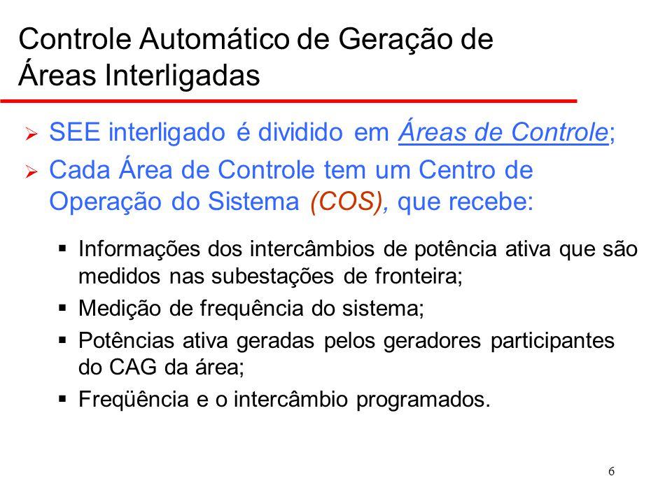 6 Controle Automático de Geração de Áreas Interligadas  SEE interligado é dividido em Áreas de Controle;Áreas de Controle  Cada Área de Controle tem