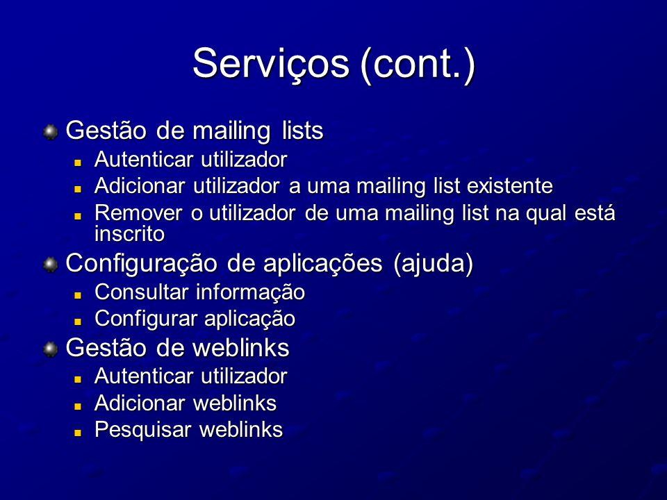Serviços (cont.) Gestão de mailing lists Autenticar utilizador Autenticar utilizador Adicionar utilizador a uma mailing list existente Adicionar utili