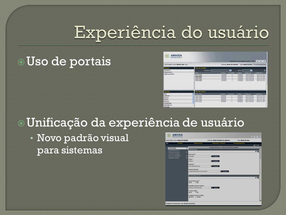  Uso de portais  Unificação da experiência de usuário Novo padrão visual para sistemas